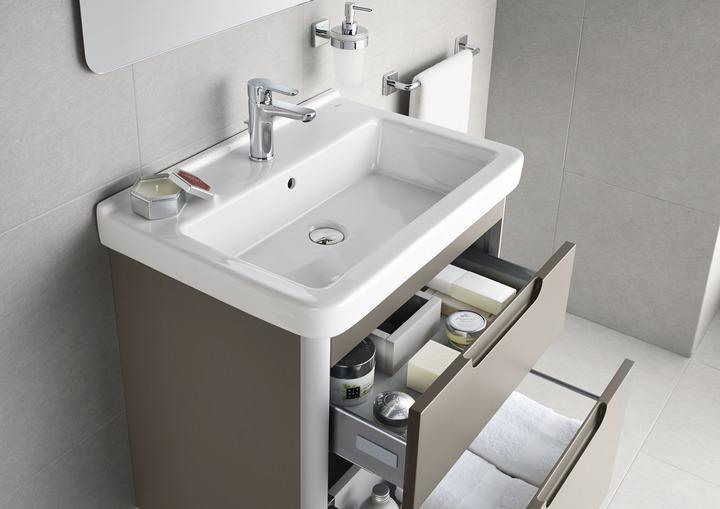 Lavabo dama 65 con pedestal roca caloronline for Modelos de lavabos roca